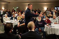 Senator Scott Brown (R-MA) speaks to a crowd gathered the VFW Post 88 for a campaign stop in North Billerica, Massachusetts, USA, on Thurs., Nov. 2, 2012. Senator Scott Brown is seeking re-election to the Senate.  His opponent is Elizabeth Warren, a democrat.