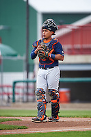 Bowing Green Hot Rods catcher David Rodriguez (7) during a game against the Burlington Bees on May 7, 2016 at Community Field in Burlington, Iowa.  Bowling Green defeated Burlington 11-1.  (Mike Janes/Four Seam Images)