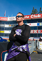 Feb 11, 2019; Pomona, CA, USA; NHRA funny car driver Jack Beckman during the Winternationals at Auto Club Raceway at Pomona. Mandatory Credit: Mark J. Rebilas-USA TODAY Sports