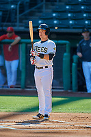 Matt Thaiss (21) of the Salt Lake Bees bats against the Albuquerque Isotopes at Smith's Ballpark on April 27, 2019 in Salt Lake City, Utah. The Isotopes defeated the Bees 10-7. This was a makeup game from April 26, 2019 that was cancelled due to rain. (Stephen Smith/Four Seam Images)