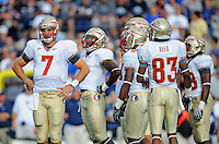 Sept. 19, 2009; Provo, UT, USA; Florida State Seminoles quarterback (7) Christian Ponder in the huddle against the BYU Cougars at LaVell Edwards Stadium. Florida State defeated BYU 54-28. Mandatory Credit: Mark J. Rebilas-