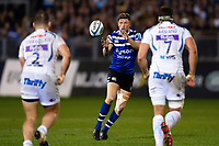 Rhys Priestland of Bath Rugby receives the ball. Gallagher Premiership match, between Bath Rugby and Exeter Chiefs on October 5, 2018 at the Recreation Ground in Bath, England. Photo by: Patrick Khachfe / Onside Images
