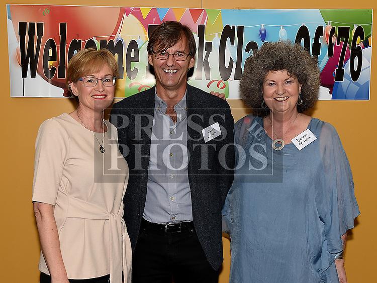 Mairead McGuinness, Eoin Lynch and Bernie McAdam at the Ardee CS Leaving Cert Class of 1976 reunion in Ardee Golf Club. . Photo:Colin Bell/pressphotos.ie