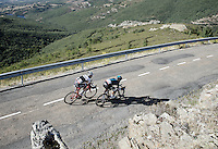race leaders Nicolas Roche (IRL/SKY) &amp; Haimar Zubeldia (ESP/Trek Factory Racing) descending from the last climb towards the finish<br /> <br /> stage 18: Roa - Riaza (204km)<br /> 2015 Vuelta &agrave; Espana