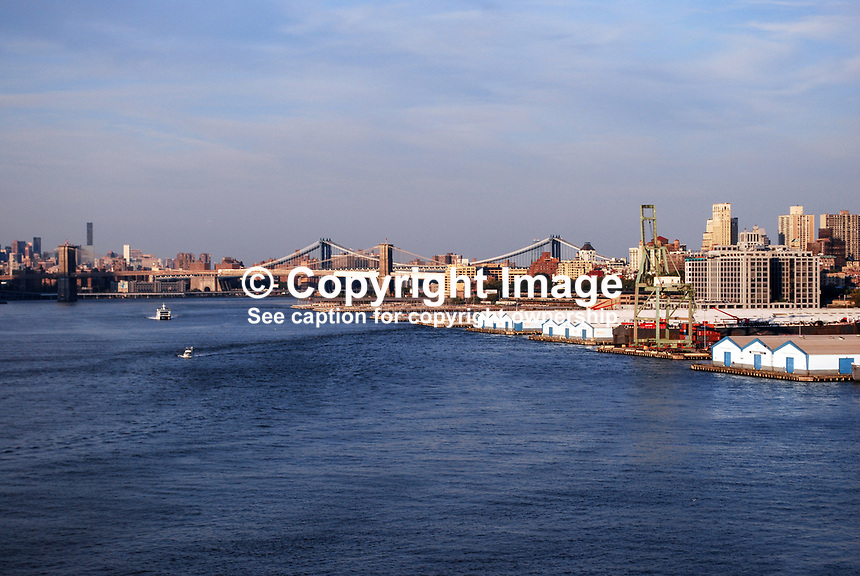Brooklyn Bridge, New York, USA, evening, 201110235541...Copyright Image from Victor Patterson, 54 Dorchester Park, Belfast, United Kingdom, UK...For my Terms and Conditions of Use go to http://www.victorpatterson.com/Victor_Patterson/Terms_%26_Conditions.html