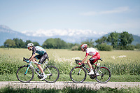 Today's breakaway group rolling along with the mighty Alps as a backdrop: Alessandro De Marchi (not in the frame), Yoann Bagot (FRA/Vital Concept - B&B) & Stéphane Rossetto (FRA/Cofidis)<br /> <br /> Stage 5: Boën-sur-Lignon to Voiron (201km)<br /> 71st Critérium du Dauphiné 2019 (2.UWT)<br /> <br /> ©kramon