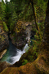 Beautiful waterfall nature scenery at Little Qualicum Falls Provincial Park, Vancouver Island, BC, Canada
