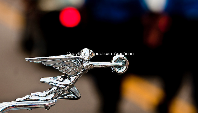 TORRINGTON, CT-062714JS18--The hood ornament on a 1930 Packard 733 Roadster, at the annual D.A.R.E.  Car Show in downtown Torrington on Friday night. The event helps pay for the supplies for the D.A.R.E.  program in the Torrington Schools. <br /> Jim Shannon Republican-American