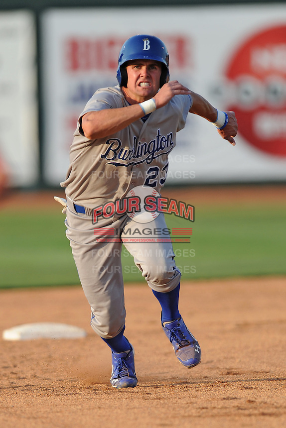 Burlington Royals center fielder Bubba Starling #23 runs to third during a game against the Johnson City Cardinals at Howard Johnson Field on June 28, 2012 in Johnson City, Tennessee. The Royals defeated the Cardinals 14-2. (Tony Farlow/Four Seam Images).