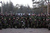 Kamenka, Karelia, Russia, 14/12/2007..Professional Russian and Swedish soldiers during Snezhinka [Snowflake] 2007, a joint live fire training exercise for Russian and Swedish motorised infantry in which they play the roles of a combined peace-keeping force enforcing a demilitarised zone in a warring region.