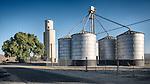 Concrete and metal grain elevators, San Lucas, Calif.