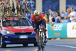 Domen Novak (SLO) Bahrain-Merida in action during Stage 1 of La Vuelta 2019, a team time trial running 13.4km from Salinas de Torrevieja to Torrevieja, Spain. 24th August 2019.<br /> Picture: Eoin Clarke | Cyclefile<br /> <br /> All photos usage must carry mandatory copyright credit (© Cyclefile | Eoin Clarke)