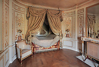 "Turkish Boudoir, redesigned in 1777 for Marie Antoinette, by architect Richard Mique, Chateau de Fontainebleau, France. The decoration is the achievement of the brothers Rousseau, and the furniture dates to the period of the First Empire, with precious textile work done by Jacob-Desmalter for Empress Josephine. Including a small bedroom, mirrors, and curtains raised by pulleys, this exceptional ensemble has been restored in 2014 thanks to the support of INSEAD and the generosity of subscribers of sponsors belonging to the group ""Des Mécènes pour Fontainebleau"". Its opening to the public is scheduled for Spring 2015. Picture by Manuel Cohen"