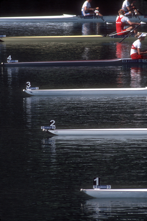 Rowing, Lucerne Rotsee Regatta, At the Start, racing shells and rowers, Lucerne, Switzerland, .