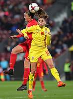 20191008 CLUJ NAPOCA:Belgium's Tine De Caigny (6) is pictured battling for the ball with Romania's Cosmina Dusa (18) at the match between Belgium Women's National Team and Romania Women's National Team as part of EURO 2021 Qualifiers on 8th of October 2019 at CFR Stadium, Cluj Napoca, Romania. PHOTO SPORTPIX | SEVIL OKTEM