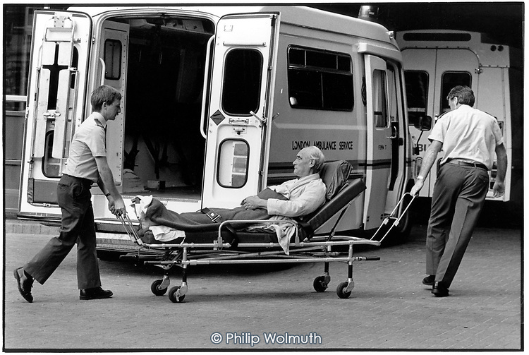 Ambulance staff deliver a patient to the Accident and Emergency Department of Guy's Hospital, London.