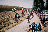 peloton on pav&eacute; sector #14<br /> <br /> Stage 9: Arras Citadelle &gt; Roubaix (154km)<br /> <br /> 105th Tour de France 2018<br /> &copy;kramon