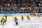 Minnesota celebrates their win. - The University of Minnesota Golden Gophers defeated the University of North Dakota 2-1 on Thursday, April 10, 2014, at the Wells Fargo Center in Philadelphia to advance to the Frozen Four final.