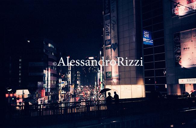 Romantic scene in Tokyo during the night