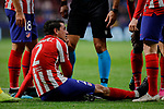 Jose Maria Gimenez of Atletico de Madrid injured during the UEFA Europa League match between Atletico de Madrid and Bayer 04 Leverkusen at Wanda Metropolitano Stadium in Madrid, Spain. October 22, 2019. (ALTERPHOTOS/A. Perez Meca)