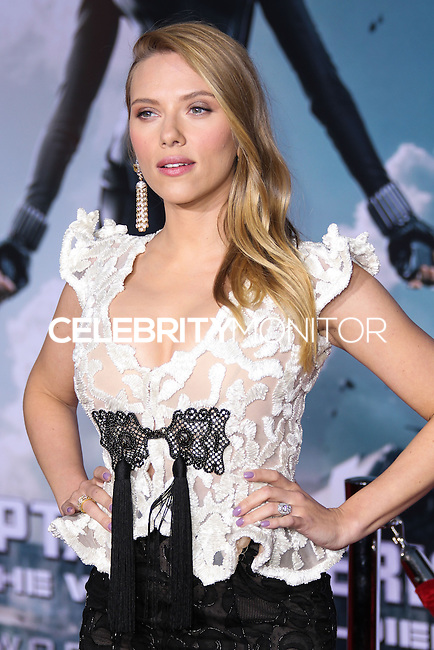 "HOLLYWOOD, LOS ANGELES, CA, USA - MARCH 13: Scarlett Johansson at the World Premiere Of Marvel's ""Captain America: The Winter Soldier"" held at the El Capitan Theatre on March 13, 2014 in Hollywood, Los Angeles, California, United States. (Photo by Xavier Collin/Celebrity Monitor)"