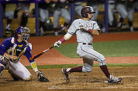 Texas A&M Aggies shortstop Blake Allemand (1) follows through on his swing during a Southeastern Conference baseball game against the LSU Tigers on April 24, 2015 at Alex Box Stadium in Baton Rouge, Louisiana. LSU defeated Texas A&M 9-6. (Andrew Woolley/Four Seam Images)