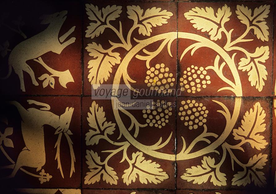 Europe/France/Centre/37/Indre-et-Loire/Langeais : Le château - Détail des carrelages qui célèbrent la vigne