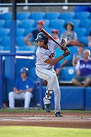 Jupiter Hammerheads center fielder Tristan Pompey (14) at bat during a game against the Dunedin Blue Jays on August 14, 2018 at Dunedin Stadium in Dunedin, Florida.  Jupiter defeated Dunedin 5-4 in 10 innings.  (Mike Janes/Four Seam Images)