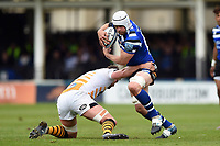 Dave Attwood of Bath Rugby takes on the Wasps defence. Gallagher Premiership match, between Bath Rugby and Wasps on May 5, 2019 at the Recreation Ground in Bath, England. Photo by: Patrick Khachfe / Onside Images