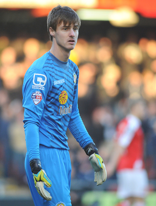 Crewe Alexandra's Ben Garratt in action during todays match  <br /> <br /> Photographer Kevin Barnes/CameraSport<br /> <br /> Football - The Football League Sky Bet League One - Crewe Alexandra v Preston North End - Sunday 28th December 2014 - Alexandra Stadium - Crewe<br /> <br /> &copy; CameraSport - 43 Linden Ave. Countesthorpe. Leicester. England. LE8 5PG - Tel: +44 (0) 116 277 4147 - admin@camerasport.com - www.camerasport.com