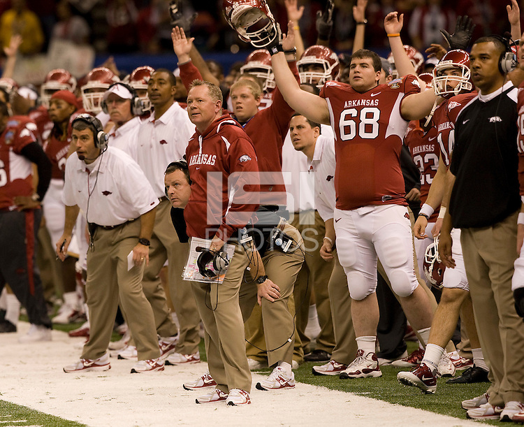Arkansas head coach Bobby Petrino watches the ball going through a goal post during the game against Ohio State during 77th Annual Allstate Sugar Bowl Classic at Louisiana Superdome in New Orleans, Louisiana on January 4th, 2011.  Ohio State defeated Arkansas, 31-26.