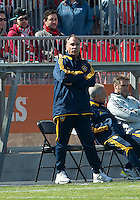 30 March 2013:LA Galaxy head coach Bruce Arena watches the action during an MLS game between the LA Galaxy and Toronto FC at BMO Field in Toronto, Ontario Canada..The game ended in a 2-2 draw..
