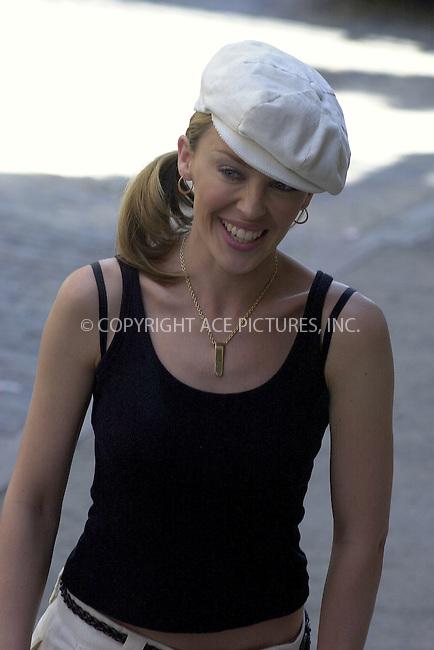WWW.ACEPIXS.COM . . .  ....NEW YORK, SEPTEMBER 6, 2002....STOCK PHOTO: KYLIE MINOGUE....Please byline: ACE007 - ACE PICTURES... *** ***  ..Ace Pictures, Inc:  ..Alecsey Boldeskul (646) 267-6913 ..Philip Vaughan (646) 769-0430..e-mail: info@acepixs.com..web: http://www.acepixs.com