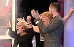 Anne Fitzpatrick, left, celebrates after the announcement that Leixlip Musical and Variety Group won the Best Overall Show / Gilbert Section for their production of  'Legally Blonde'  at the Association of Irish Musical Societies (AIMS) annual awards in the INEC, Killarney at the weekend. <br /> Photo Don MacMonagle<br /> <br /> repro free photo AIMS<br /> Further info: Kate Furlong PRO kate.furlong84@gmail.com