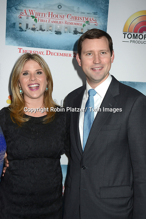 "Jenna Bush Hager and husband Henry Hager  attends the party for NBC's "" A White House Christmas: First Families Remember"" on December 11, 2012 at Tenjune in New York City."