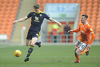 Oxford United's Rob Dickie under pressure from Blackpool's Chris Long<br /> <br /> Photographer Kevin Barnes/CameraSport<br /> <br /> The EFL Sky Bet League One - Blackpool v Oxford United - Saturday 23rd February 2019 - Bloomfield Road - Blackpool<br /> <br /> World Copyright © 2019 CameraSport. All rights reserved. 43 Linden Ave. Countesthorpe. Leicester. England. LE8 5PG - Tel: +44 (0) 116 277 4147 - admin@camerasport.com - www.camerasport.com