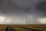 Rain and lightening, thunderstorm, Ranch Exit no. 1 east of Green River on I-70, Utah