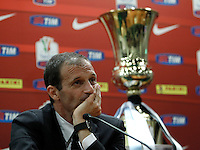 Calcio, Tim Cup: L'allenatore della Juventus Massimiliano Allegri durante la conferenza stampa alla vigilia della finale contro la Lazio, allo stadio Olimpico di Roma, 19 maggio 2015.<br /> Italy football Italian Cup: Juventus' coach Massimiliano Allegri attends a press conference on the eve of the final match against Lazio, at Rome's Olympic stadium, 19 May 2015.<br /> UPDATE IMAGES PRESS/Isabella Bonotto