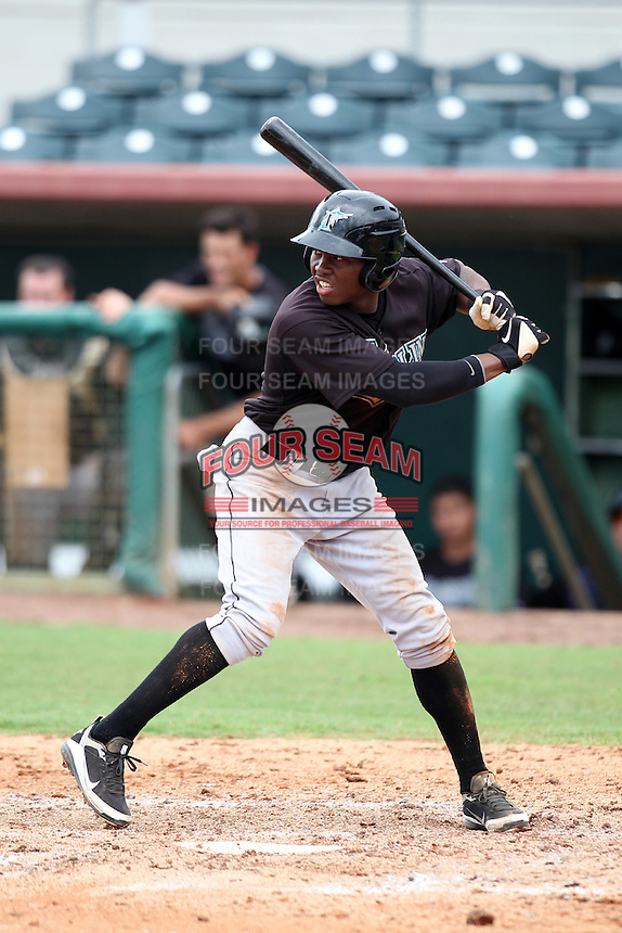 GCL Marlins Kentrell Dewitt #8 during a game against the GCL Astros at Osceola County Stadium on June 25, 2011 in Kissimmee, Florida.  The Astros defeated the Marlins 5-2 after the game was ended in the sixth inning due to heavy rain.   (Mike Janes/Four Seam Images)