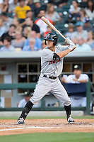 Adam Frazier (6) of the Indianapolis Indians at bat against the Charlotte Knights at BB&T BallPark on June 17, 2016 in Charlotte, North Carolina.  The Knights defeated the Indians 4-0.  (Brian Westerholt/Four Seam Images)
