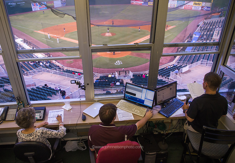 Jackson Generals broadcast crew works from the press box at  Generals Park in Jackson, Tennessee.