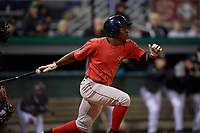 Lowell Spinners Gilberto Jimenez (32) bats during a NY-Penn League Semifinal Playoff game against the Batavia Muckdogs on September 4, 2019 at Dwyer Stadium in Batavia, New York.  Batavia defeated Lowell 4-1.  (Mike Janes/Four Seam Images)