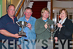 Presenting the winners with their cups at the Lough Lein anglers association social in the Dromhall Hotel Killarney Sunday night was l-r: Guy Buxton Secretary (left) to Gerard O'Mahony and  Margaret Doyle Chairperson (right) to Anne McWilliams     Copyright Kerry's Eye 2008