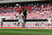 01.08.2015. Cologne, Germany. Pre Season Tournament. Colonia Cup. FC Cologne versus Stoke City.  Dionatan Teixeira wins the aerial battle with Milos Jojic.