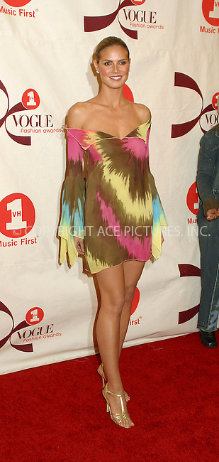 Heidi Klum arriving at 2002 VH1/Vogue Fashion Awards at Radio City Misic Hall. New York, October 15, 2002. Please byline: Alecsey Boldeskul/NY Photo Press.   ..*PAY-PER-USE*      ....NY Photo Press:  ..phone (646) 267-6913;   ..e-mail: info@nyphotopress.com