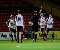 South Shieldsy U18's Bailey Judson, right, is shown a red card by referee Sam Kane<br /> <br /> Photographer Chris Vaughan/CameraSport<br /> <br /> The FA Youth Cup Second Round - Lincoln City U18 v South Shields U18 - Tuesday 13th November 2018 - Sincil Bank - Lincoln<br />  <br /> World Copyright © 2018 CameraSport. All rights reserved. 43 Linden Ave. Countesthorpe. Leicester. England. LE8 5PG - Tel: +44 (0) 116 277 4147 - admin@camerasport.com - www.camerasport.com