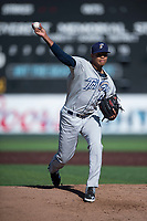 Tri-City Dust Devils starting pitcher Manny Guzman (49) delivers a pitch during a Northwest League game against the Everett AquaSox at Everett Memorial Stadium on September 3, 2018 in Everett, Washington. The Everett AquaSox defeated the Tri-City Dust Devils by a score of 8-3. (Zachary Lucy/Four Seam Images)