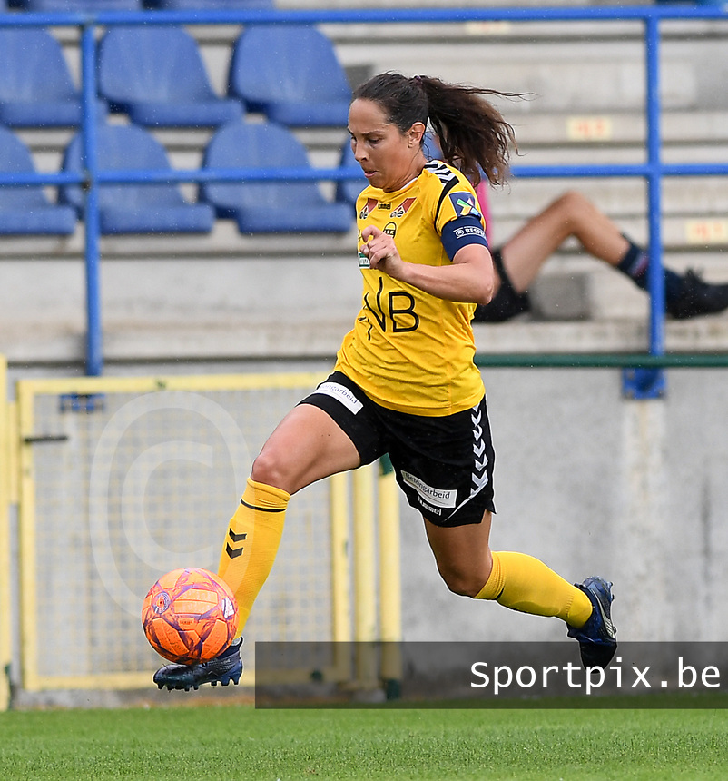 20190807 - DENDERLEEUW, BELGIUM : LSK's Ingrid Moe Wold pictured in action during the female soccer game between the Norwegian LSK Kvinner Fotballklubb Ladies and the Northern Irish Linfield ladies FC , the first game for both teams in the Uefa Womens Champions League Qualifying round in group 8 , Wednesday 7 th August 2019 at the Van Roy Stadium in Denderleeuw  , Belgium  .  PHOTO SPORTPIX.BE for NTB  | DAVID CATRY