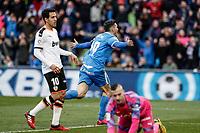 8th February 2020; Coliseum Alfonso Perez, Madrid, Spain; La Liga Football, Club Getafe Club de Futbol versus Valencia; Jorge Molina (Getafe CF)  celebrates his goal which made it 2-0 in the 67th minute