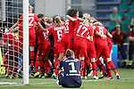 Olympique Lyonnais's team celebrate the victory in the UEFA Women's Champions League 2015/2016 Final match in presence of VfL Wolfsburg's Almuth Schult dejected.May 26,2016. (ALTERPHOTOS/Acero)